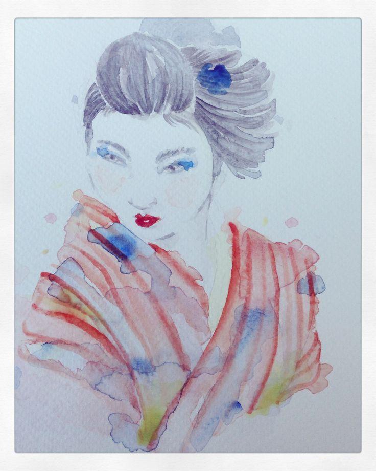 #geisha #watercolor #acuarela #dibujo