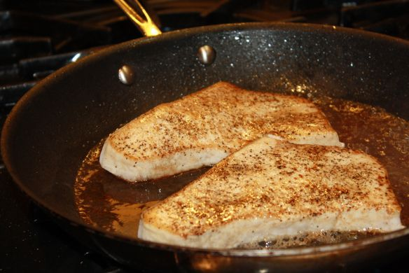 Pan seared swordfish steaks with white wine and butter- One of the most DELICIOUS ways Ive ever prepared swordfish indoors.. so flavorful. I used a Mediterranean flavored butter, so so easy!