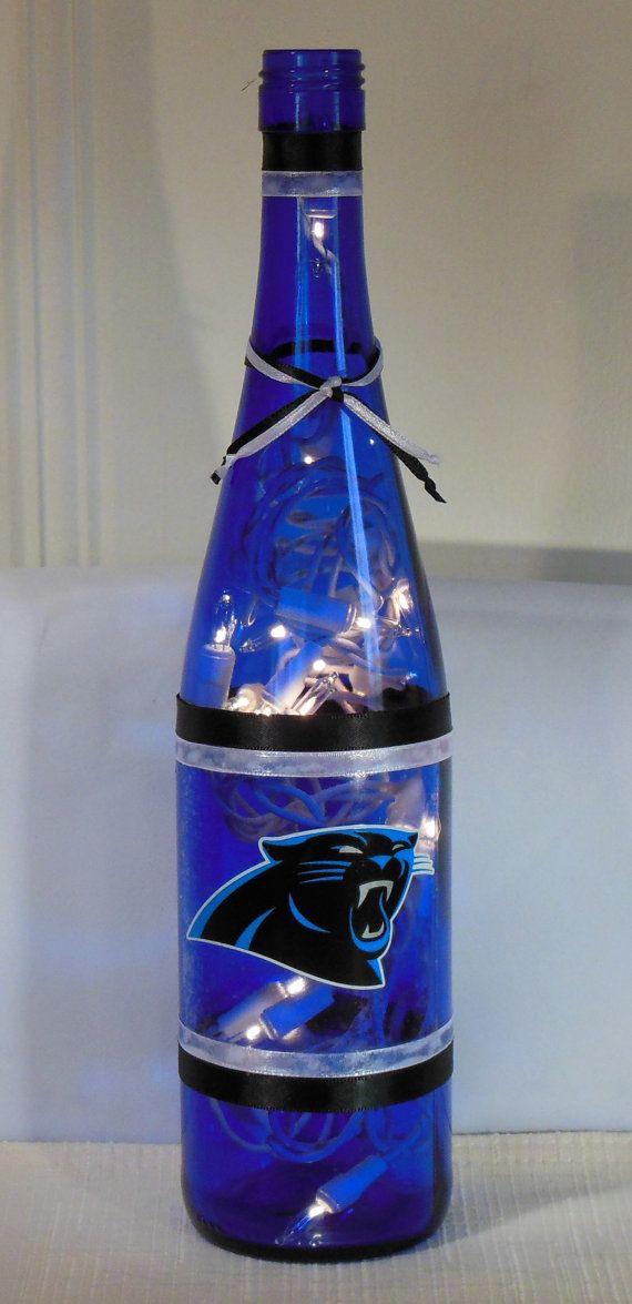 Carolina Panthers NFL Football Wine Bottle Lamp by EcoArtbyNancy, $27.00