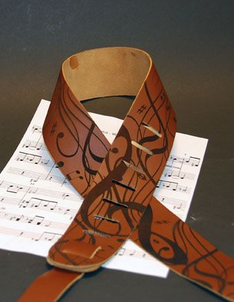 Create a customized leather guitar strap with an Epilog Laser system