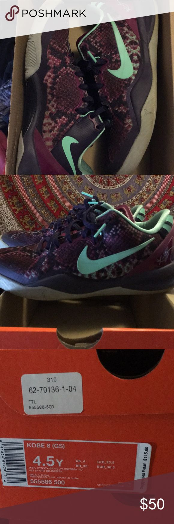 Kobe 8s youth size 4.5 Perfect condition Kobe 8s with purple snake skin print Nike Shoes Sneakers