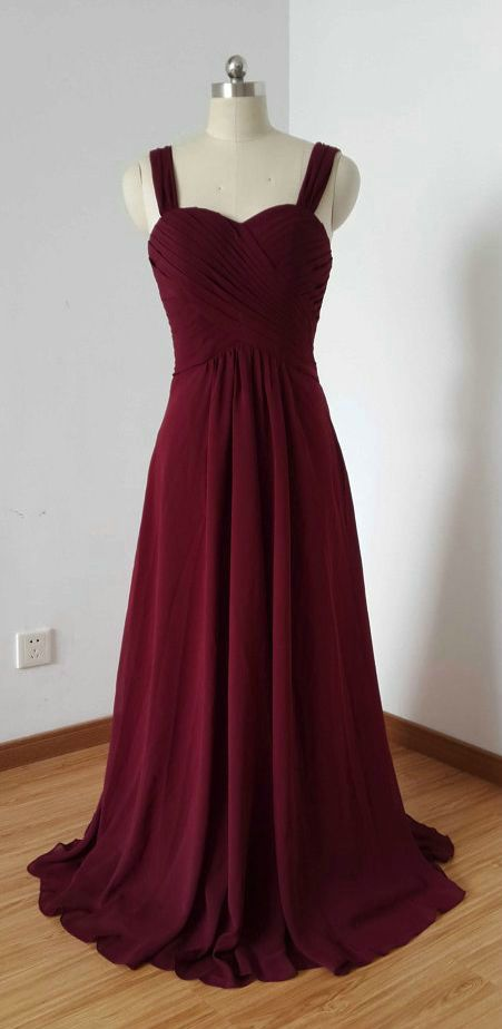 Simple Burgundy Formal Dresses Floor Length Spaghetti Straps Chiffon Party Prom Gowns on Luulla