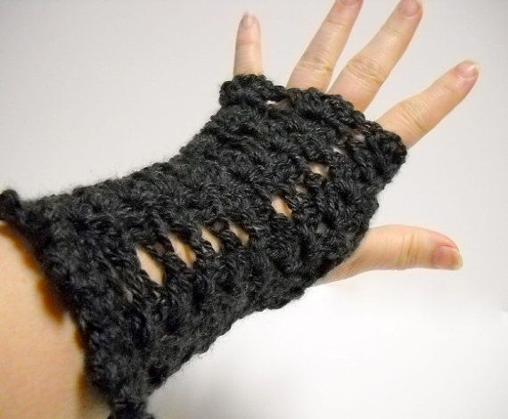 Fingerless Mitts  Black Computer Gloves  Womens by StitchKnit