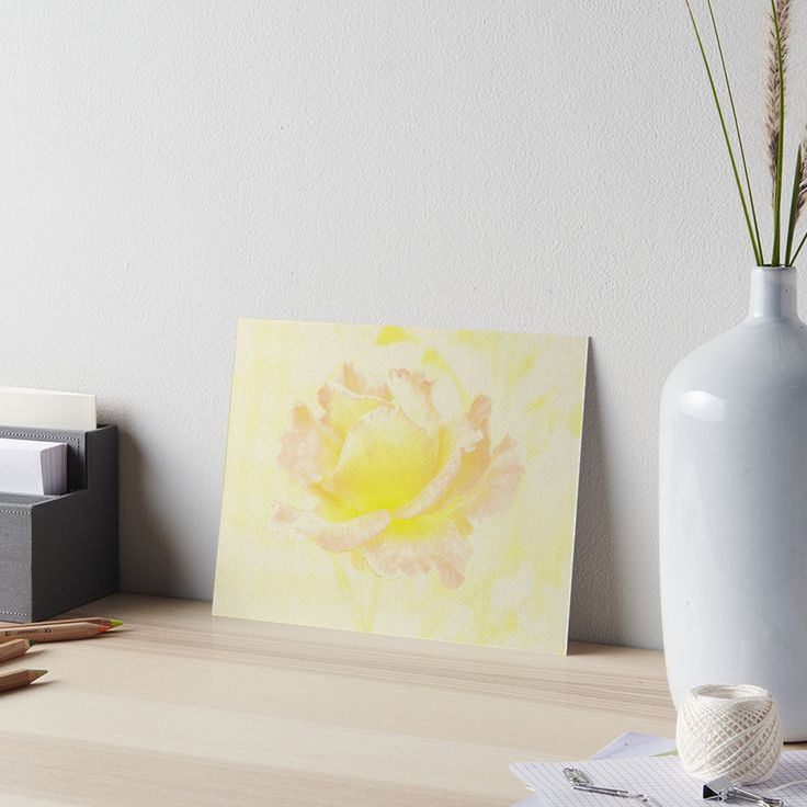 Vintage Rose Art Board by ARTbyJWP via Redbubble #rose #artprint #walldeco #artboard #yellow #artbyjwp --     Close-up of a beautiful rose in full bloom with pastel earthy tones. Digital drawing. • Also buy this artwork on wall prints, apparel, stickers, and more.