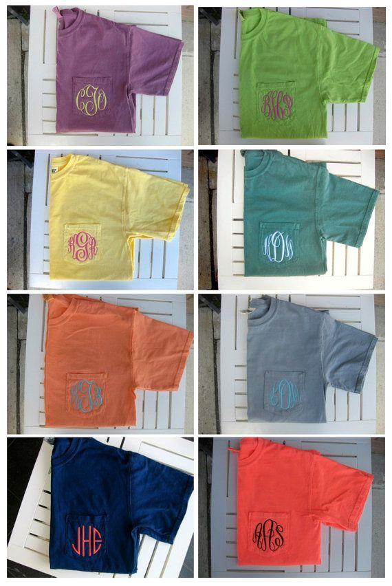 Monogrammed Comfort Colors Plain Pocket Tee