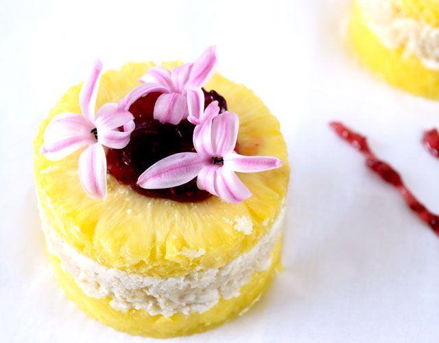 Raw Pineapple Dessert w/ Raspberry Jam and Hyacinth Garnish