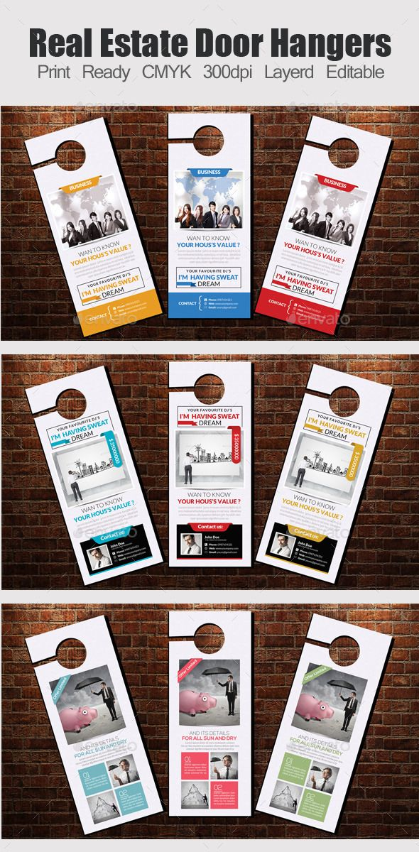 3 Corporate Door Hanger Templates PSD Bundle