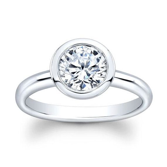 Ladies 14k white gold bezel engagement ring solitaire with 1.50 ct natural Round Brilliant White Sapphire center
