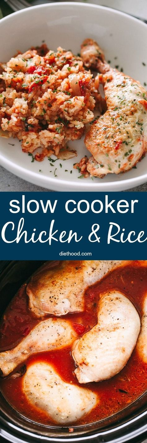 Slow Cooker Chicken and Rice Recipe – Your favorite chicken and rice casserole prepared in the crock pot! Made with brown rice, tomatoes, and chicken, this is a healthy, delicious, and easy slow cooker recipe perfect for those busy weeknights.