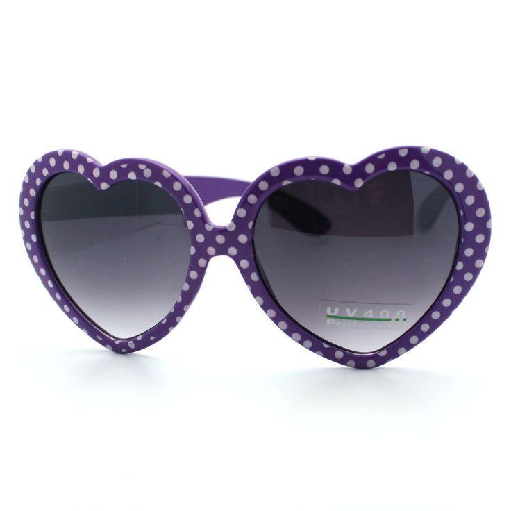 Heart Love Sunglasses Cute Heart Shape Frame with Polka Dots (7 Colors)