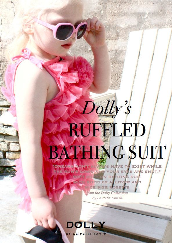 Le Petit Tom ® - bathing suit, badpak, roze badpak, dolly, pink bathing suit, ruffled swimsuit