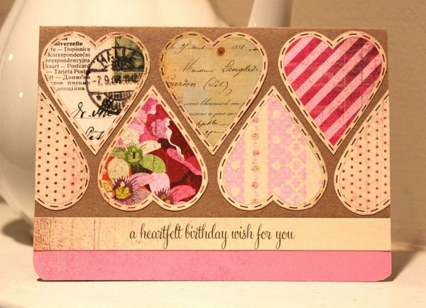 Handmade Card. Love this use of multi papers for a valentine card.  #heart