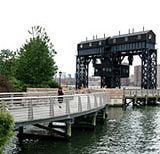 Gantry Plaza State Park in Long Island City, Queens: Curving Dock at Gantry Plaza State Park
