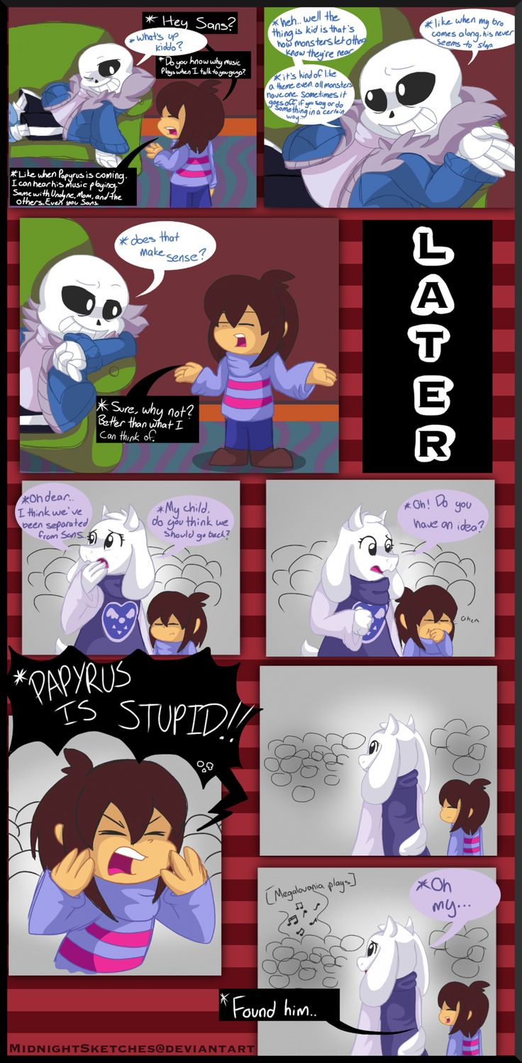 Undertale: Music in the back by MidnightSketches on DeviantArt ^  Welp.  Time to run away now, Frisk...