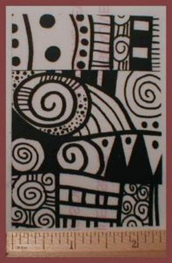 Disegni di Texture gomma Art timbro impressionare smontati in Polymer Clay, PMC, ceramica o su carta, tessuto, riviste e raccoglitori ATC dimensioni