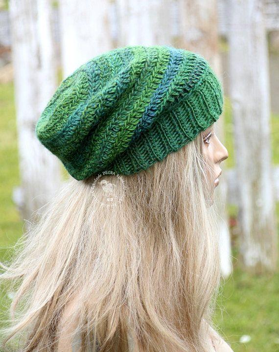 Green winter beanie Chunky green beanie Fashion style Slouchy