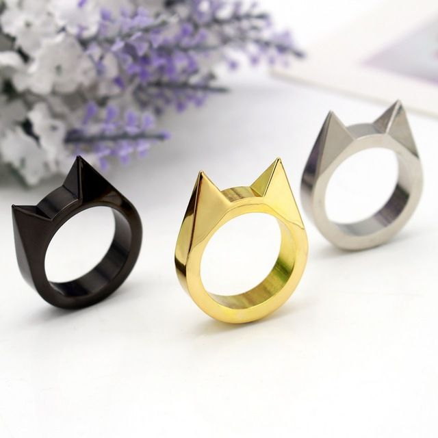 Anel Masculino Metal Gold Black Ring Window Breaker Anillos Mujer Hombre Bijoux Bagues Femme Ring Anelli Donna Cats Jewelry 20