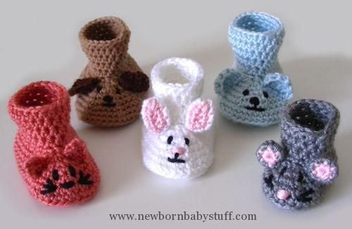 Crochet Baby Booties Free Baby Crochet Patterns | ... Crochet Pattern: Animal Bab...