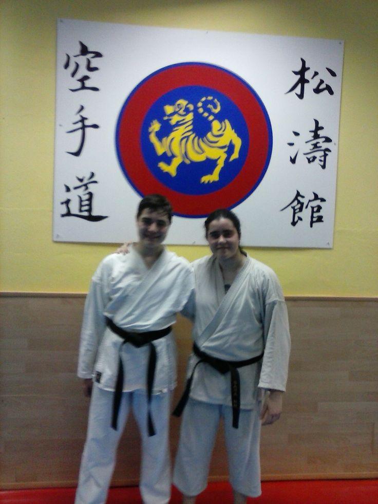 Rubén con una compañera de karate