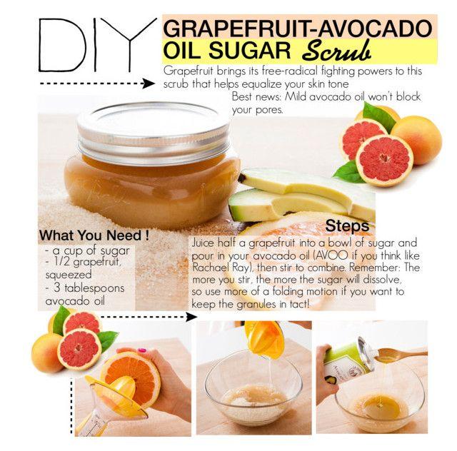 """Create a DIY Scrub : Grapefruit-Avocado Oil Sugar Scrub"" by dindafirly ❤ liked on Polyvore featuring beauty, contestentry, polyvorecontest and diyscrub"
