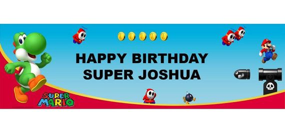 Mario Bros Personalized Happy Birthday Banner 5ft, Yoshi Birthday Party Banner  These are great for a Child's Party!