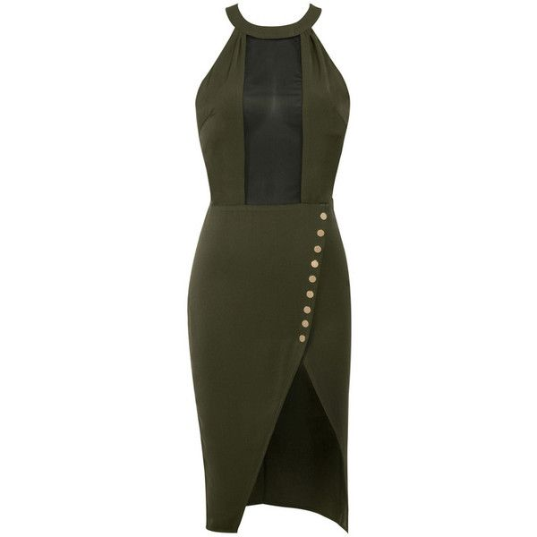 'High Ground' Khaki Stretch Crepe and Mesh Dress - Mistress Rocks ($70) ❤ liked on Polyvore featuring dresses, mesh dress, khaki dress, khaki green dress, military green dress and green color dress