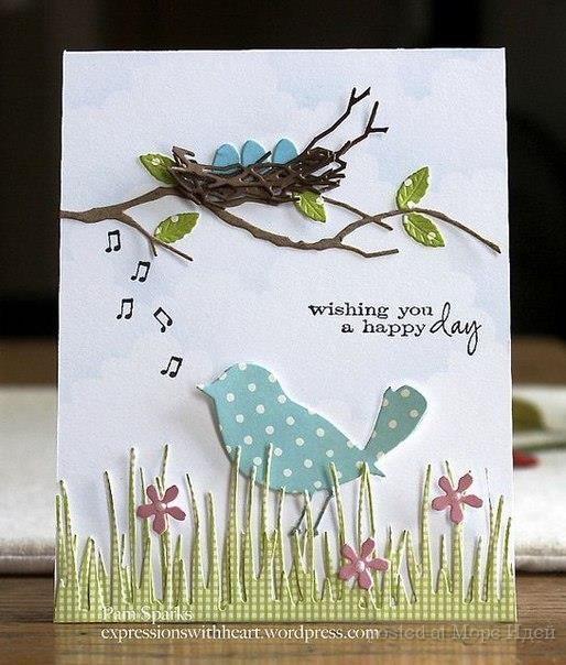 Для детей, открытка своими руками птички