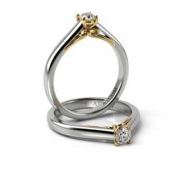 Inel de logodna cu diamant Beckham din aur alb cu galben