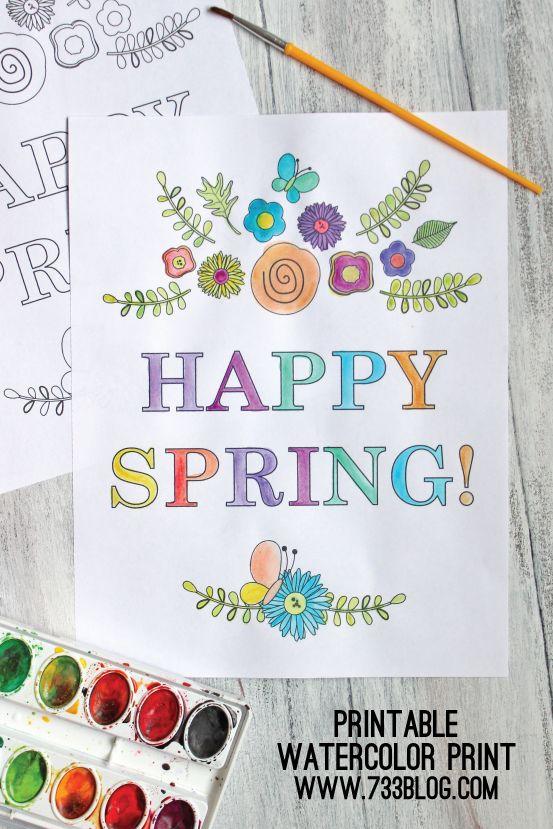 Spring Watercolor Printable - seven thirty three