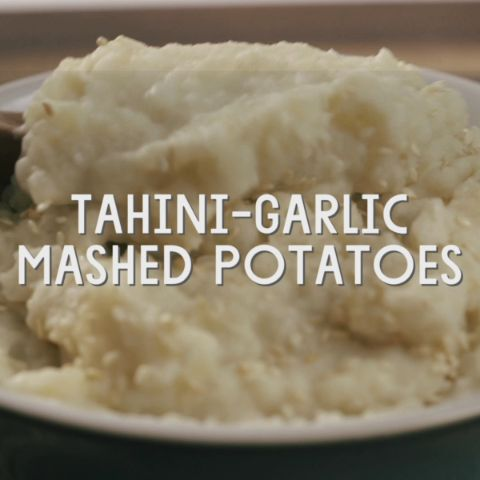 Tahini-Garlic Mashed Potatoes // These potatoes are rich and creamy without the addition of dairy ingredients. The flavor is classic enough to serve alongside any holiday roast, or increase the tahini by a tablespoon or two and pair them with Middle Eastern dishes in place of rice or couscous.