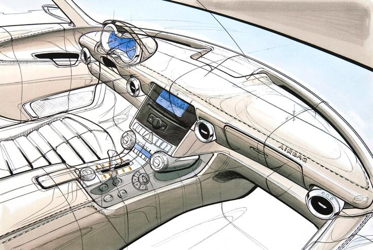 mercedes benz sls amg interior design sketch