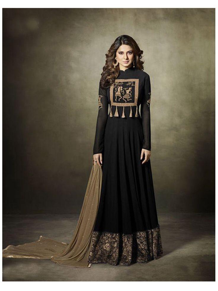 Bollywood ethnic new design Party wear Anarkali Dress for women-Black Color #Shoppingover #SalwarKameez