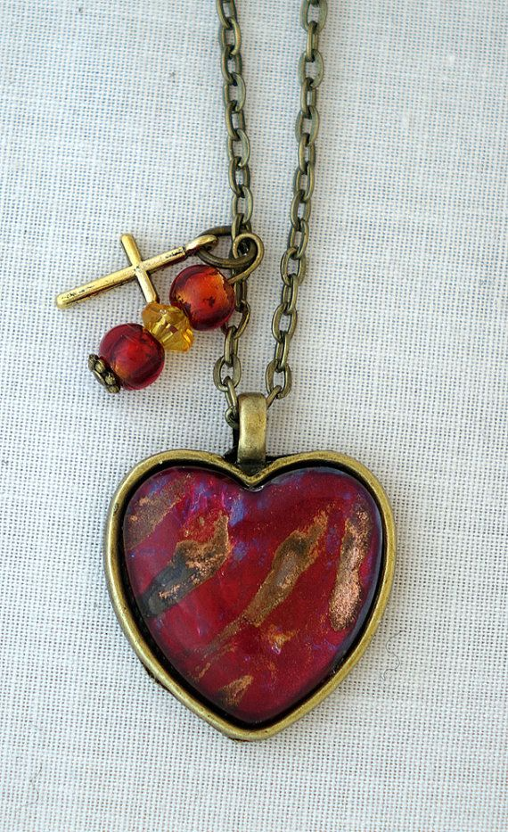 Collier Coeur Rouge Brillant Pendentif Rouge Vernis à par FullPhoto