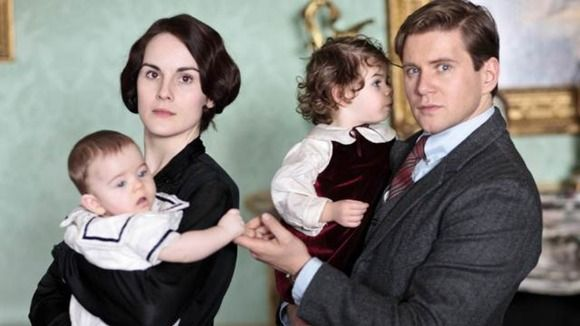Laby Mary with baby George and Branson with his daughter Sybbie...preview of Season 4  #downton_abbey_season_4