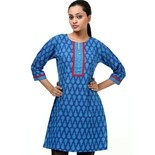 Shree printed kurti with contrast detail on sleeves and neck  Blow the blues away with this remarkable catch! #Summer #cool blue printed #kurti with contrast red detailing on sleeves and neck .  #STYLE TIP Wear it with #gold or #silver #flat strappy #sandals for a #classic look