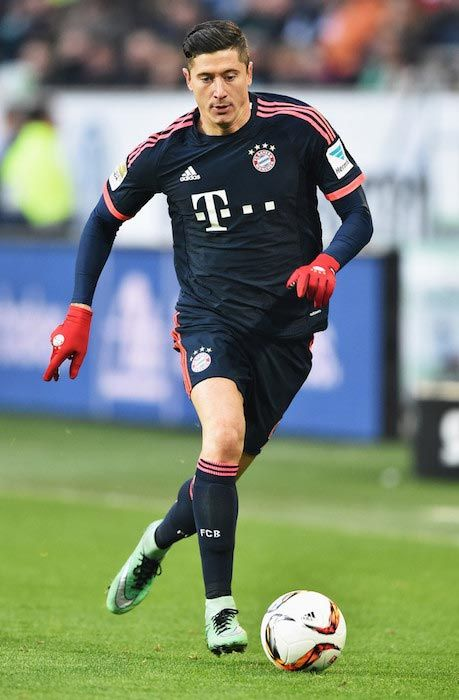 Robert Lewandowski during a match between Bayern Munich and VfL Wolfsburg at Volkswagen Arena on February 27, 2016...