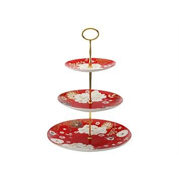 Maxwell & Williams Kimono 3 Tier Cake Stand Red    Now Only $41.99    Inspired by intricate Japanese floral designs Maxwell and Williams have brought out their Kimono fine bone china range. With floral and fine gold detailing this 3 tier cake stand comes in a gift box.        Maxwell & Williams      Kimono fine bone china      3 tier cake stand      Floral and gold details      Gift boxed