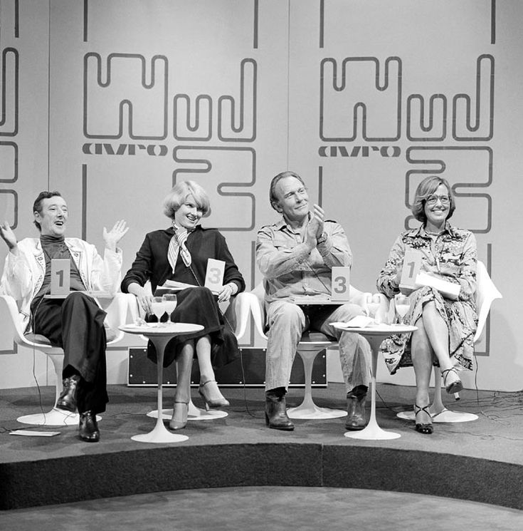 "Dutch 70'a TV Show ""Wie van de drie"". With: Albert Mol, Martine Bijl, Kees Brusse en Eveline Velsen."
