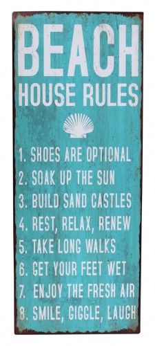beach wall art decor | Beach House Rules Wall Art Sign