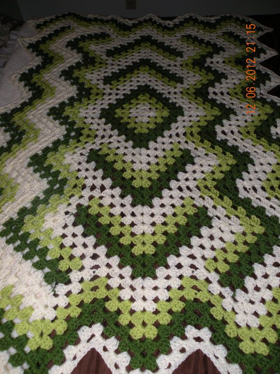Green and White Zigzag Afghan A Drop in the Pond by sewitnona, $100.00