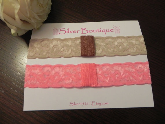 BEIGE & PINK Interchangeable Lace Headbands. Elastic Lace Headbands. Baby headband. Toddler headband. Stretchy headband. Baby photography  $3.99