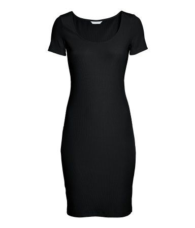 Black. Fitted knee-length dress in ribbed jersey with a low-cut neck at the front and short sleeves.