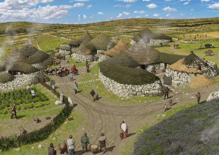 Peter Urmston - Reconstruction showing how the village of Chysauster may have looked at its peak. A close-knit community lived and worked here between the late 1st Century and the end of the 3rd century CE. The villagers lived in stone walled houses each with a number of rooms arranged round a courtyard - a unique house layout found only in late Iron Age Romano-British settlements in western Cornwall and the Isles of Scilly.
