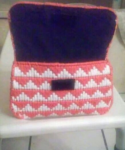 Clutch bag hand made plastic canvas