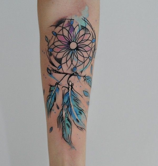 Blue Dreamcatcher Tattoo for inner arm. the blue dreamcatcher with shattered feathers is an inspiration for those who want something unique yet meaningful.