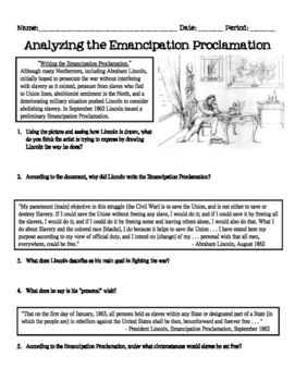 In this activity, students will analyze the Emancipation Proclamation by reading primary sources and analyzing a cartoon picture.