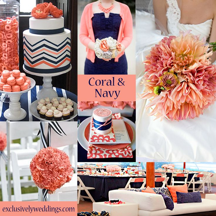 Coral and Navy Wedding Colors   #exclusivelyweddings    All of our color stories can be found here: http://pinterest.com/exclusivelywed/wedding-color-stories/