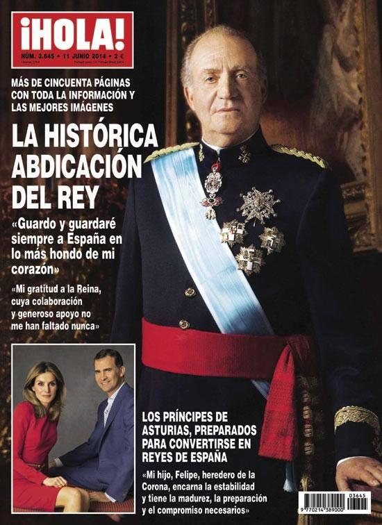 Capa da revista ¡HOLA! da abdicação do Rei Juan Carlos.