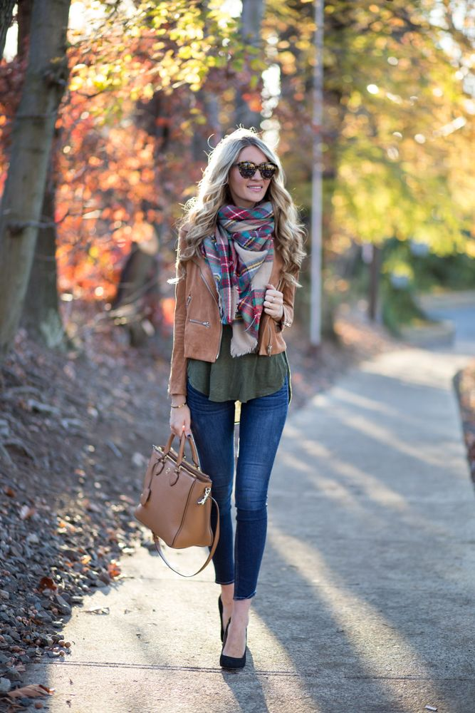 plaid blanket scarf, army green, leather jacket