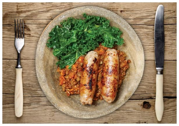 Super Cosy Herby Pork and Lentil Casserole. Don't use pork and apple sausages. Use herby as stated.